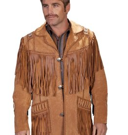 Scully Leather Men's Scully Handlaced Beaded Fringe Jacket Bourbon Boar Suede - Size 44