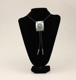 Bolo Tie - Scalloped Edge with Turquoise Stones