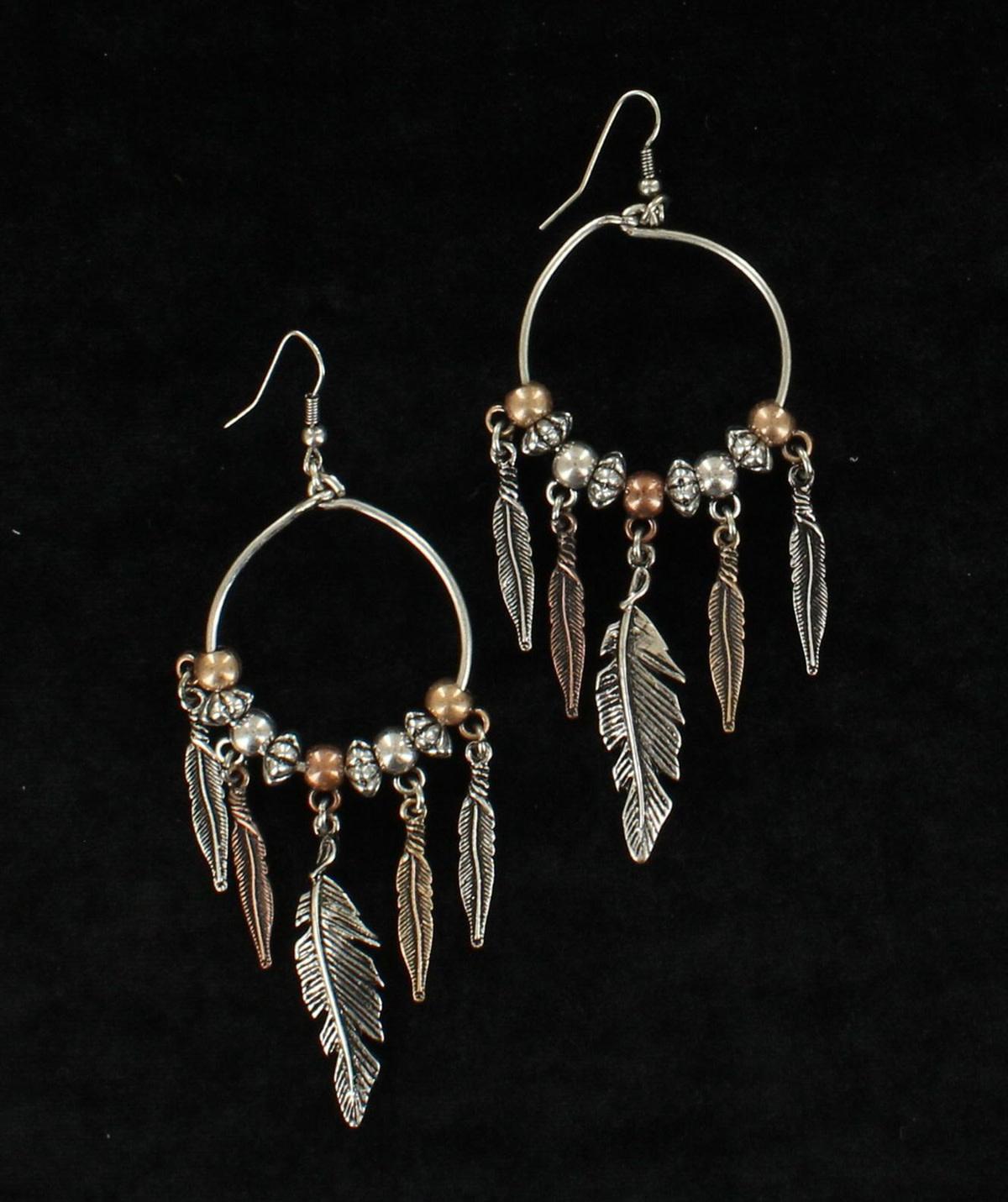 Earrings - Feather Drop Hoop Style