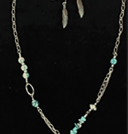 Set - Necklace/Earrings - Patina Feathers with Turquoise