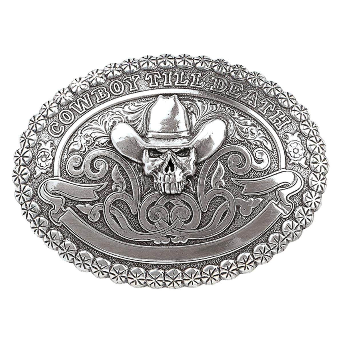 """Belt Buckle - Vintage Skull """"Cowboy Till Death"""""""