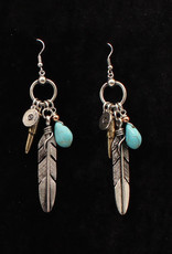Earrings - Silver Strike Bullet and Feather