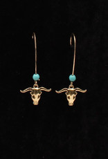 Earrings - Gold Longhorn with Turquoise Beads