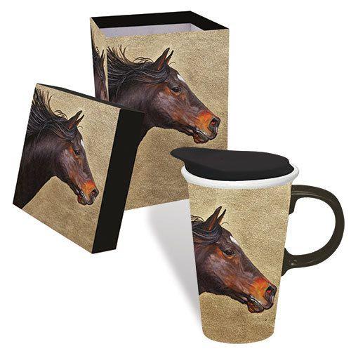 Boxed Ceramic Mug 17 oz - Running Horse