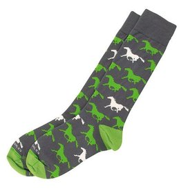Adult's Horse Socks - Charcoal/Lime