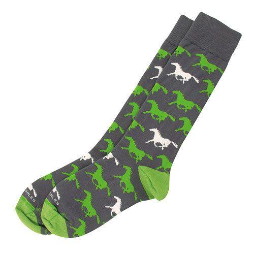 Adult's Horse Socks - Charcoal/Lime