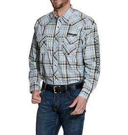 Wrangler Men's Wrangler Plaid Logo Snap Shirt