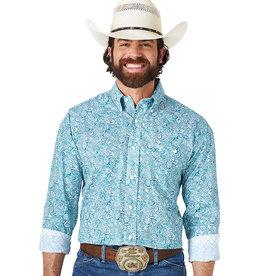 Wrangler Men's Wrangler LS George Strait One-Pocket Green/Blue Paisley Shirt