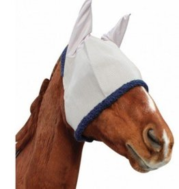 Tuffrider Fly Mask w/Ears Lt. Gray/Navy - Horse
