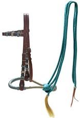 Showman Bosal Bridle - Showman Leather Headstall w/ Nylon Reins - Turquoise