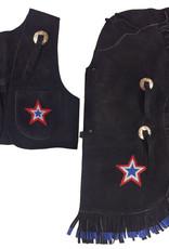Showman Children's Chap & Vest Set - Medium Black