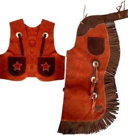 Showman Children's Chap & Vest Set - Small Brown