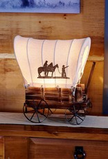 Giftcraft Inc. Covered Wagon Table Lamp, Iron & Wood