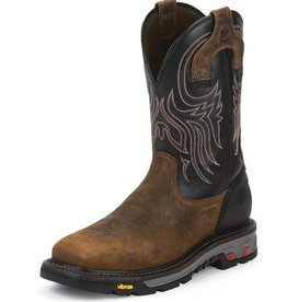 Justin Work Boots Men's Justin Tanker Black Steel Toe Workboot