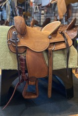"Circle L 16"" FQHB Ranch Roper Saddle - Hard Seat Lt. Oil Roughout"