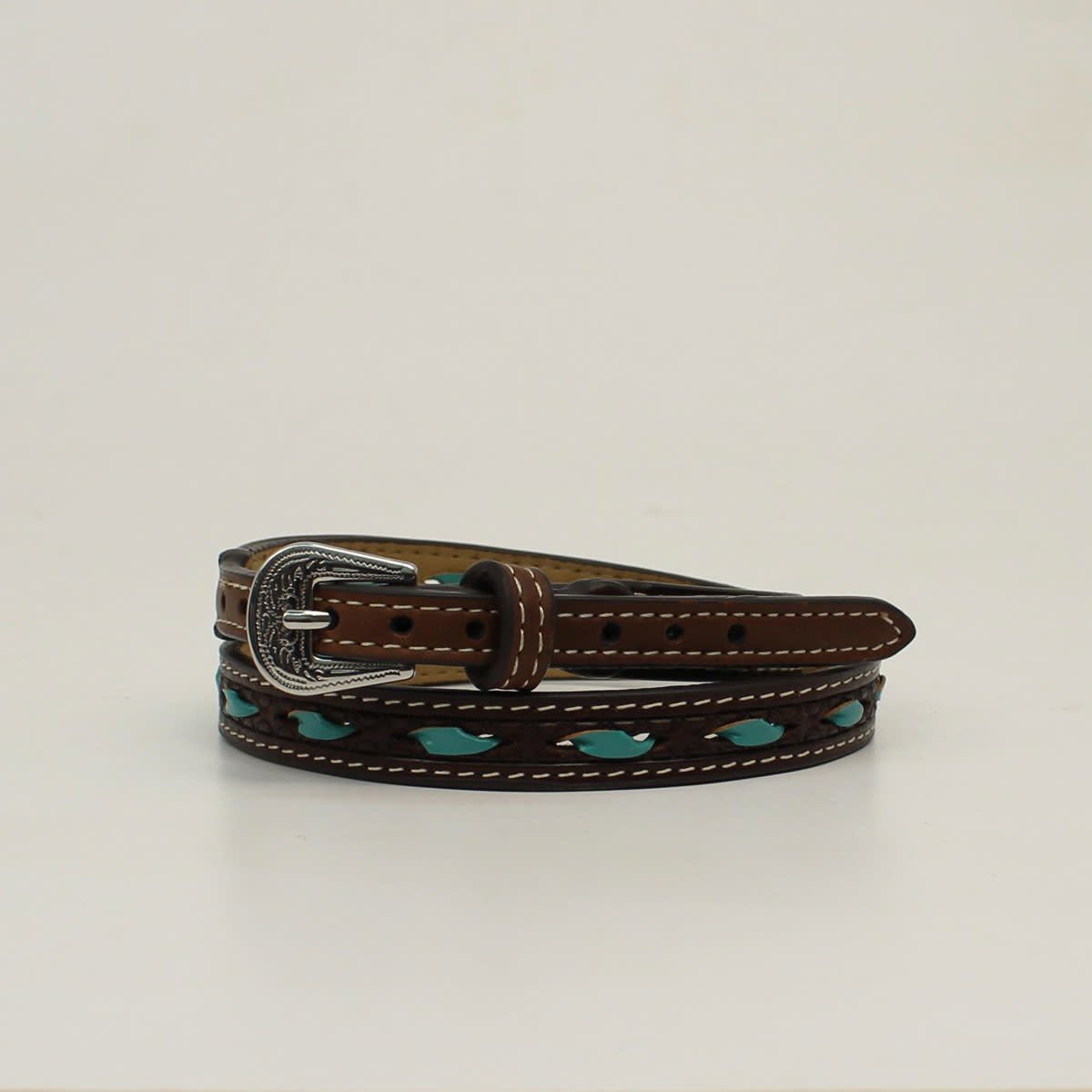 Hat Band - Brown Leather with Turquoise Lacing