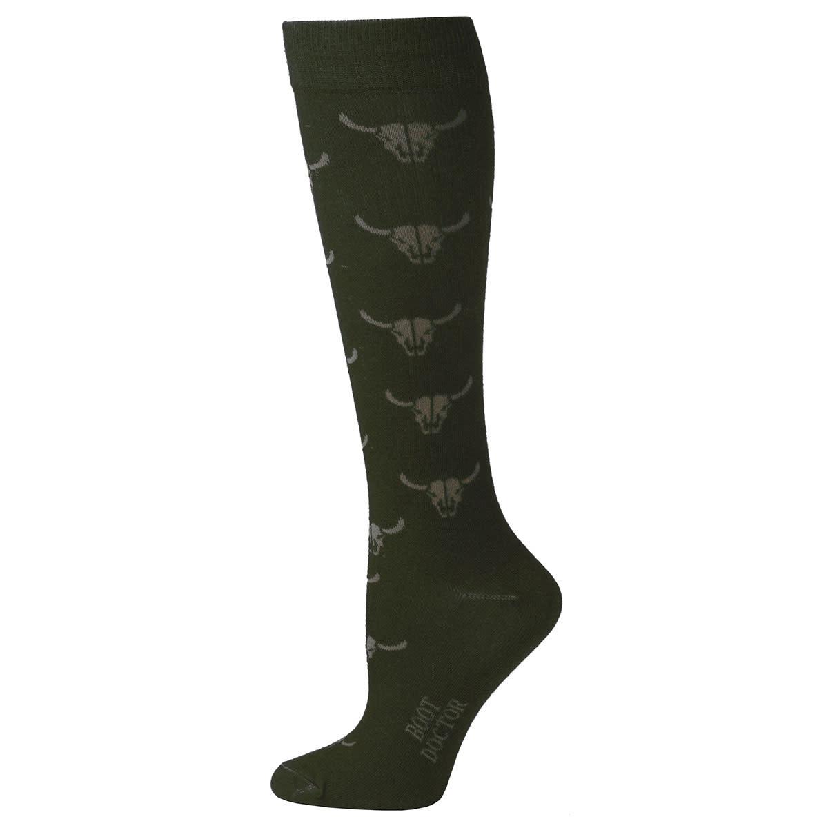 Women's Boot Doctor Over the Calf Socks - Bull Skull