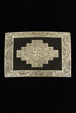 Belt Buckle - Rectangle with Aztec Design