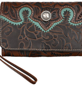 Clutch - Phone Holder Wristlest, Brown & Turquoise