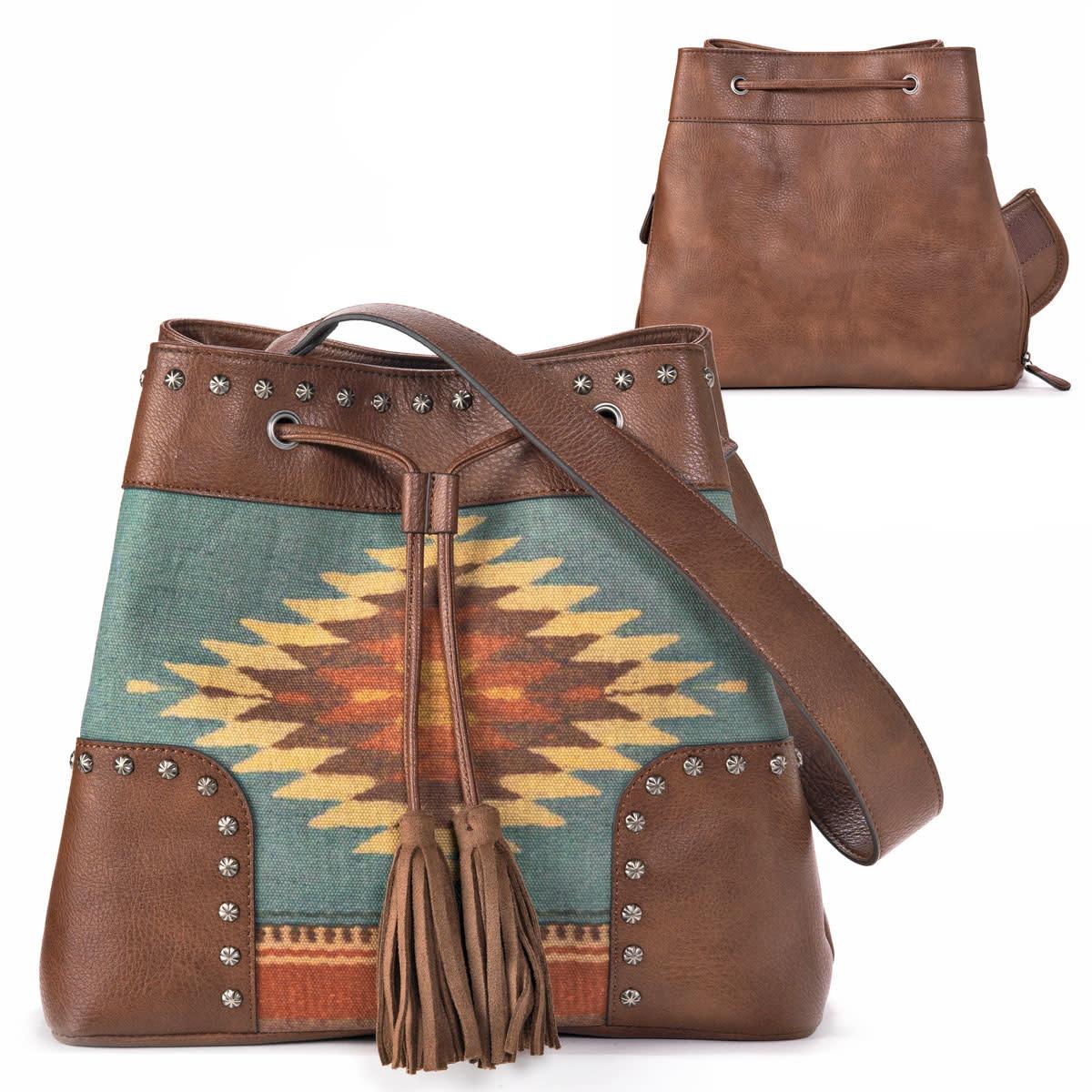 "Handbag - Woven Bucket Bag ""Zapotec"""