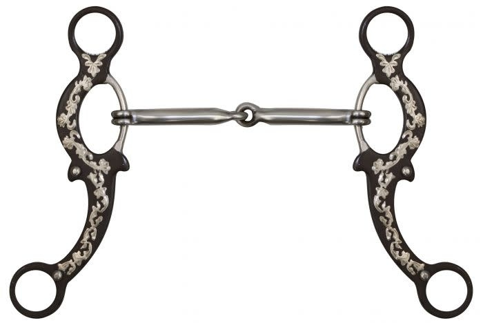 Showman Gag - Brown Steel Cheeks with Silver Filigree Overlay