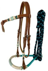 Showman Bosal Bridle - Showman with Turquoise Accents