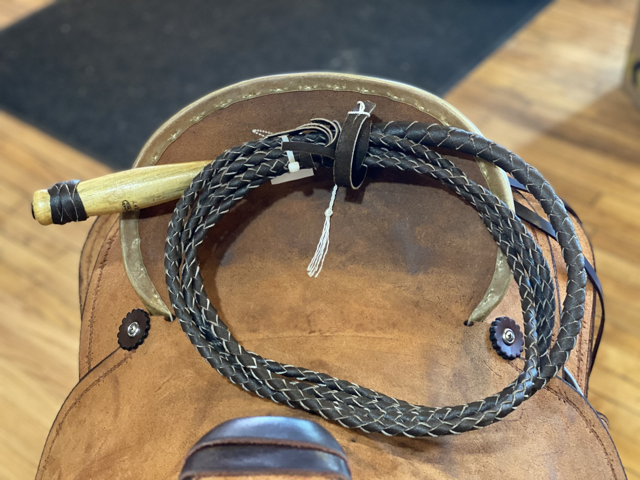 Circle L Braided Leather Bull Whip, Wood Handle - 12' Long