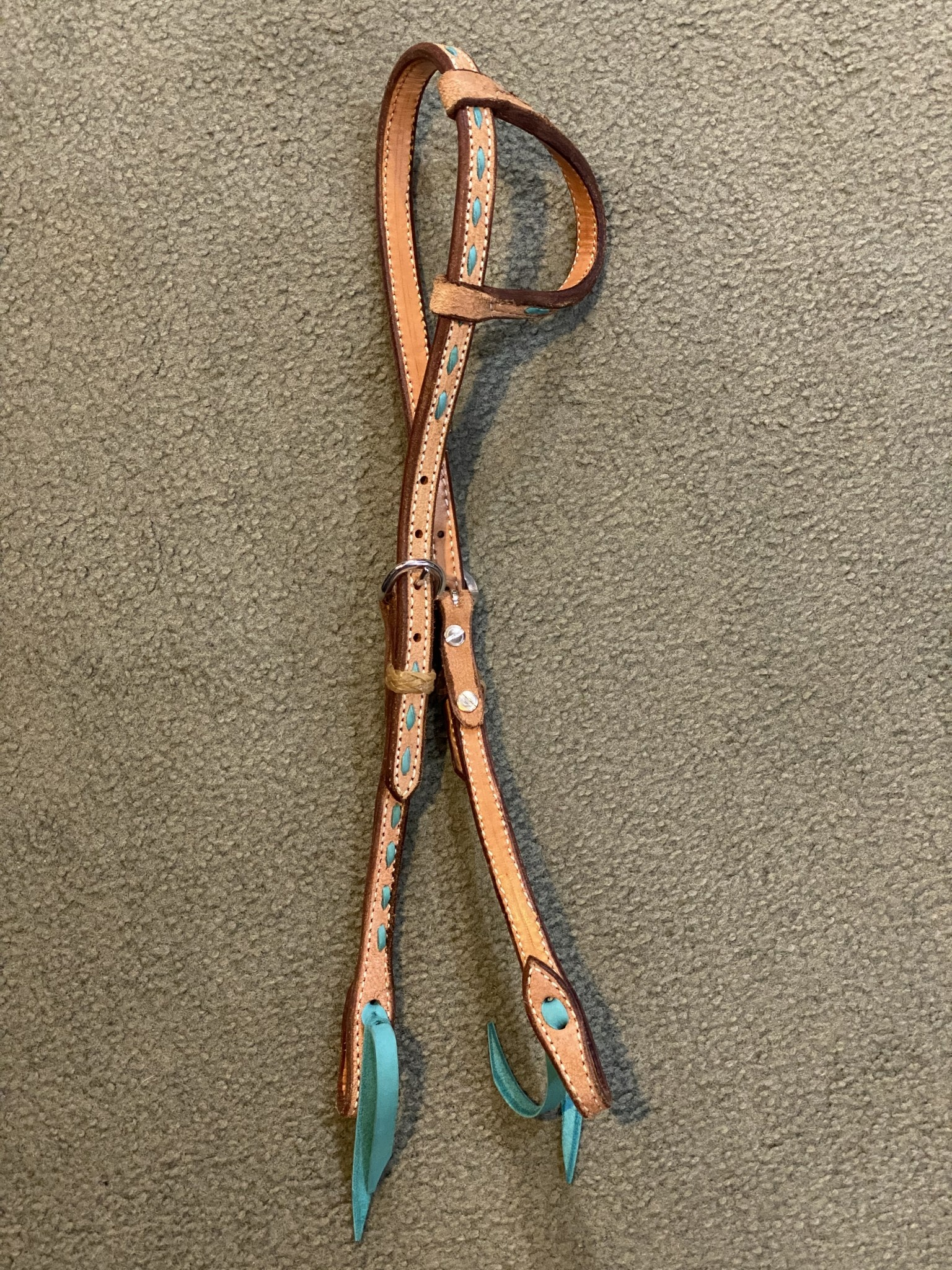 Circle L Circle L One Ear Headstall, w/Teal Lace - Horse Size