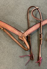 Circle L Circle L One Ear Headstall, w/Pink Lace & Match Breast Collar