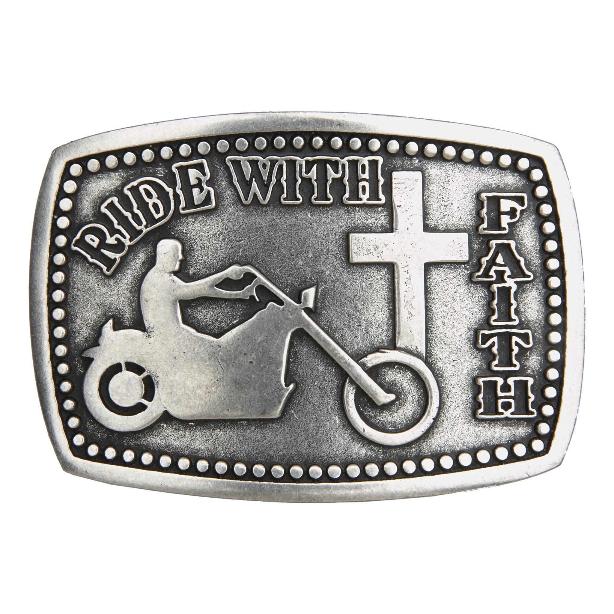 """Belt Buckle - """"Ride with Faith"""""""