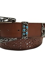 Adult - Three Piece Turquoise Perforated Belt