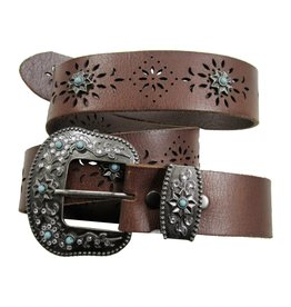 Adult - Two Piece Turquoise Perforated Belt