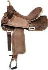"""Double T Double T Barrel Saddle with Brown Filigree Seat - 15"""""""