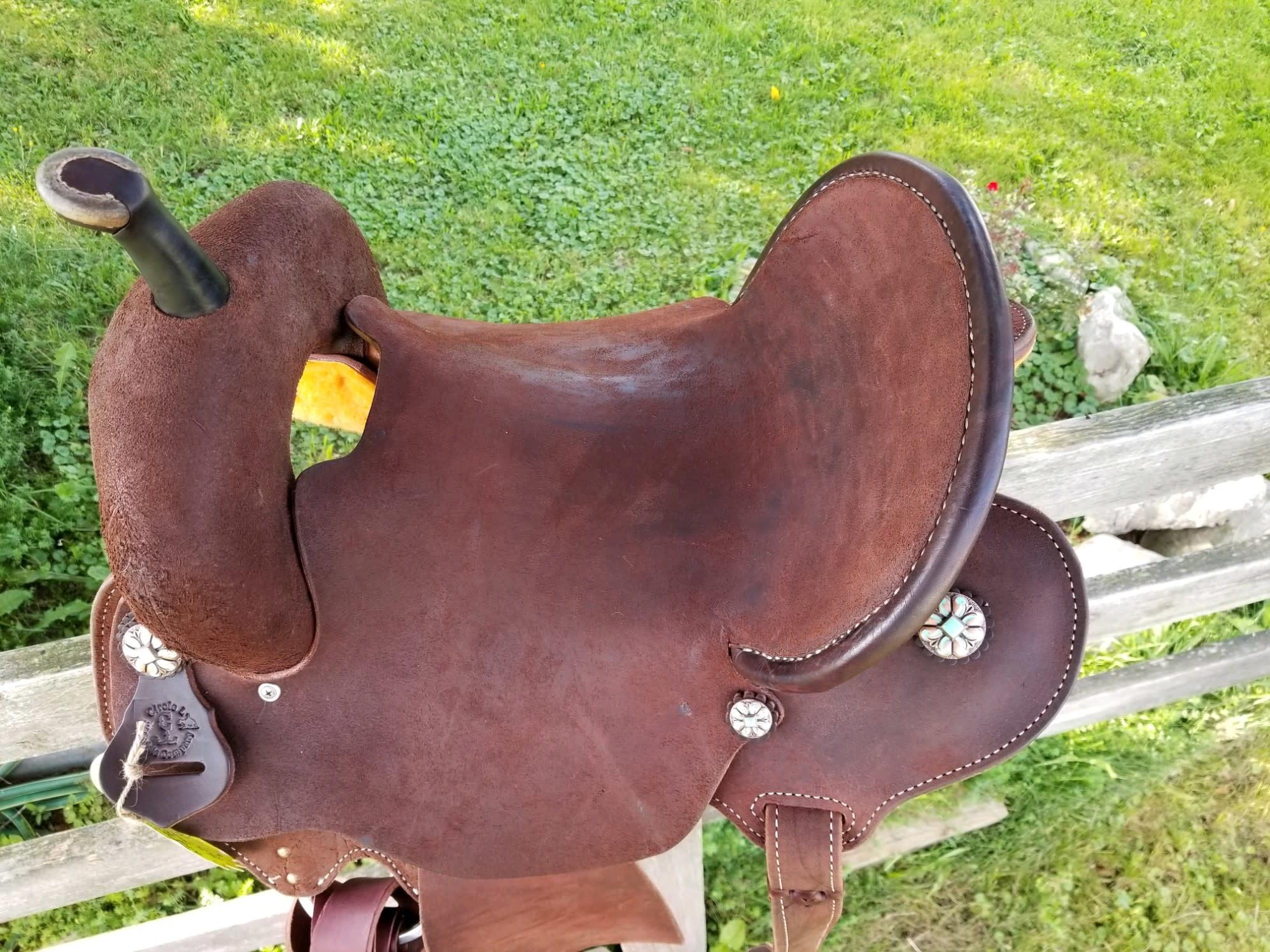 "Circle L 15.5"" Wide Circle L Chocolate Roughout Air Gullet Barrel Saddle"