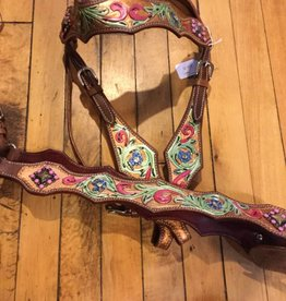 Lamprey Painted Tack Set: Headstall & Breast Collar - Horse Size