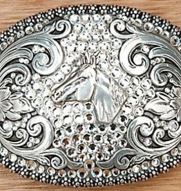 Belt Buckle - Berry Edged Crystal Horsehead