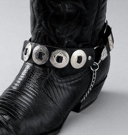WEX Boot Chains - Black Leather - Round Conchos
