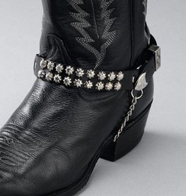 WEX Boot Chains - Black Leather - Star Studs