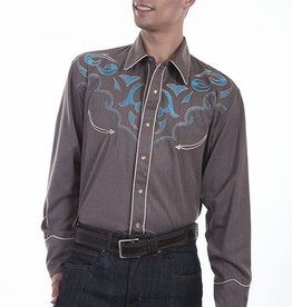 Scully Leather Men's Scully Embroidered Western Shirt, Heather Brown