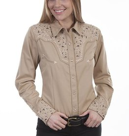Scully Leather Women's Scully Two-Tone Scroll Embroidered Western Shirt, Tan