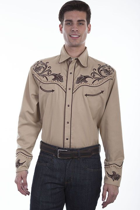 e4f0cf416 Scully Men's Scully Floral Embroidered Western Shirt, Tan - Gass ...