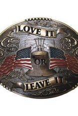 Belt Buckle - Love It or Leave It American Flags, Brass