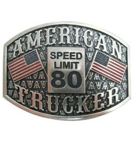 "Belt Buckle - Antique Silver ""American Trucker"""