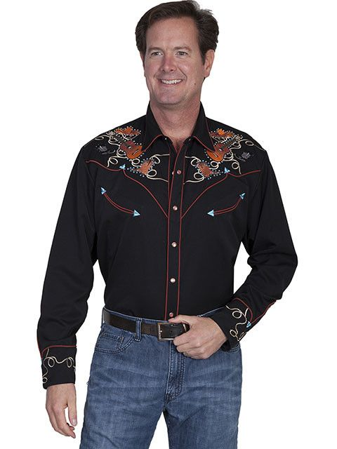 1eae6cffb8830f Men's Scully Boots, Hats & Guitars Snap Front Shirt - Gass Horse ...