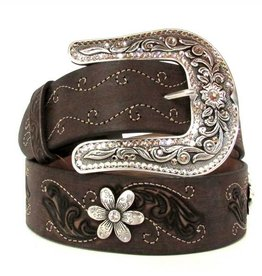 Justin Belts Adult - Country Daisy Dark Brown