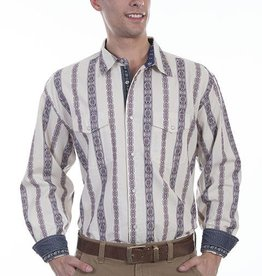 Scully Men's Scully Signature Series Doby Stripe Western Shirt, Cream XL