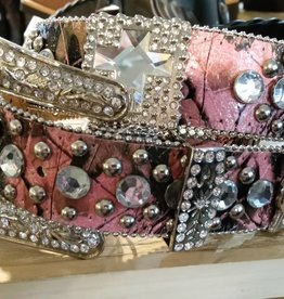 Lamprey Adult - Pink/Black Bling Belt  Pink Camo Medium