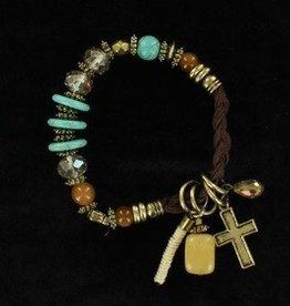 M & F Bracelet - Braided Charms & Stones