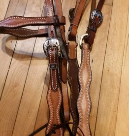 Circle L Circle L Scalloped with Cross Buckles Tack Set - Horse Size Med. Oil Shell Tooled