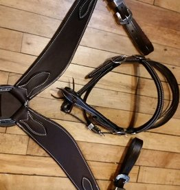 Circle L Dark Oil Browband Headstall & Wide Breast Collar Set, Made In The U.S.A